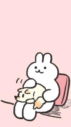 兔子 绘画 可爱 粉色