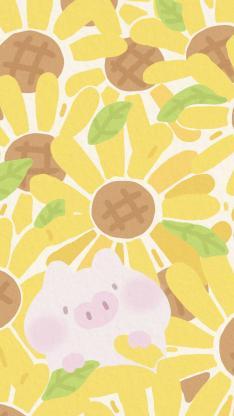 向日葵 猪 色彩 绘画