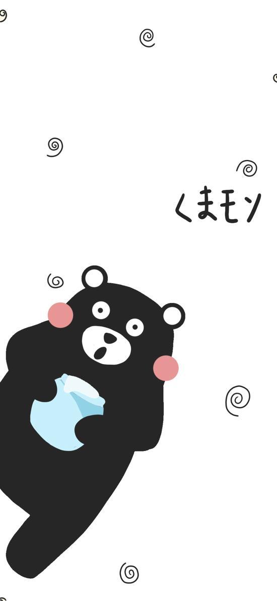 熊本熊 黑白 繪畫 卡通