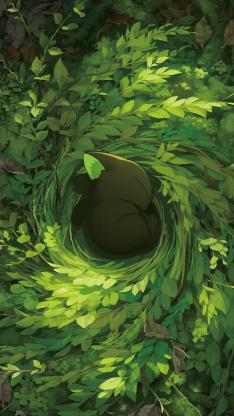 罗小黑 树叶 猫窝 黑猫