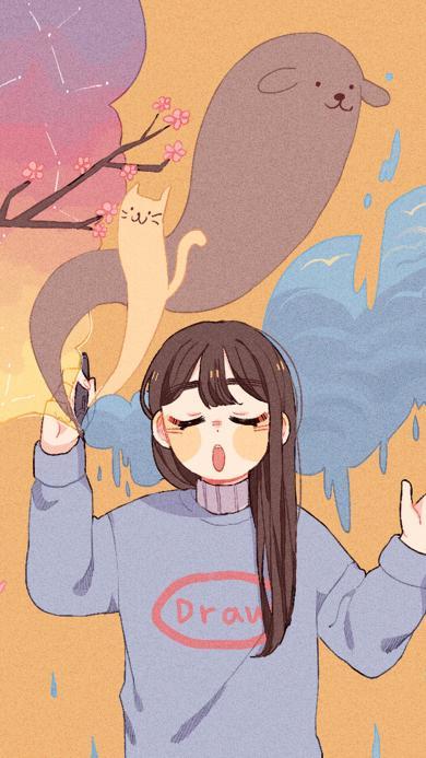 可爱少女 哈欠 猫咪 狗狗 卡通