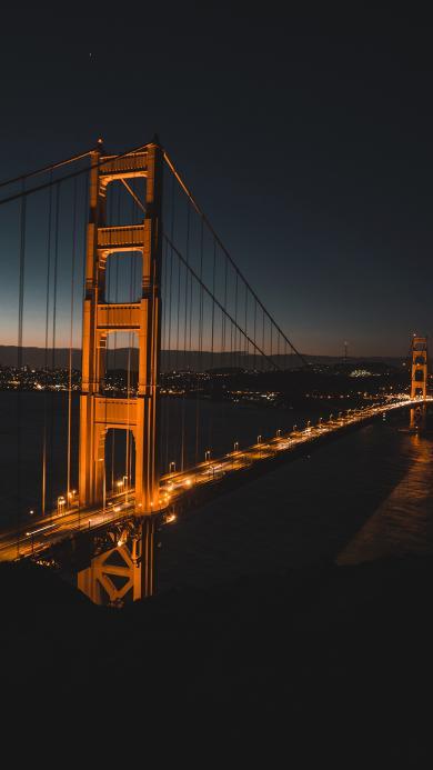 美国 标志性建筑 金山大桥 夜景