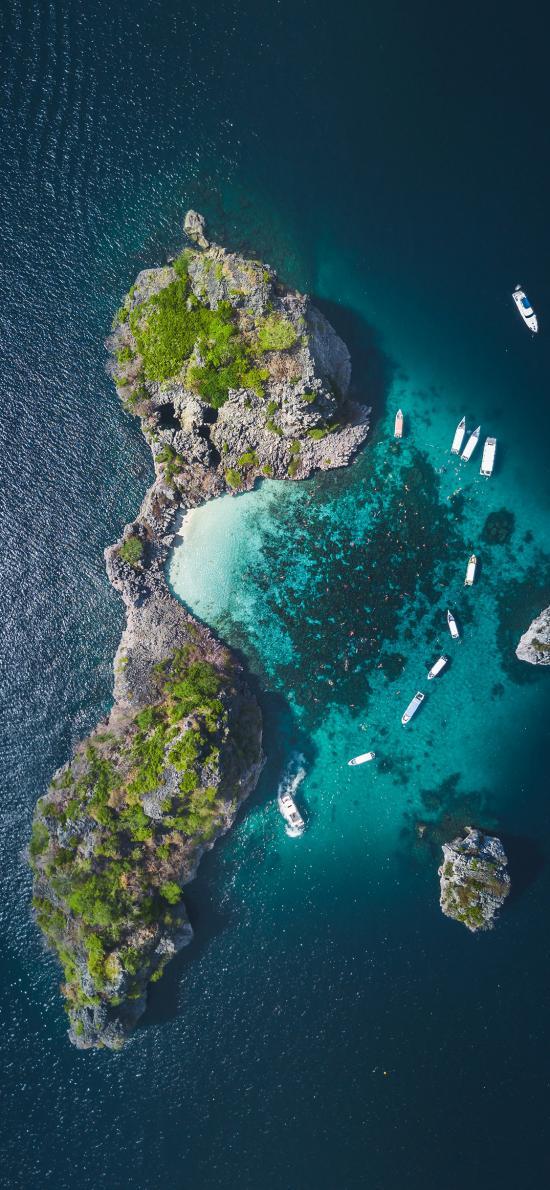 航拍 大海 海岛 船只
