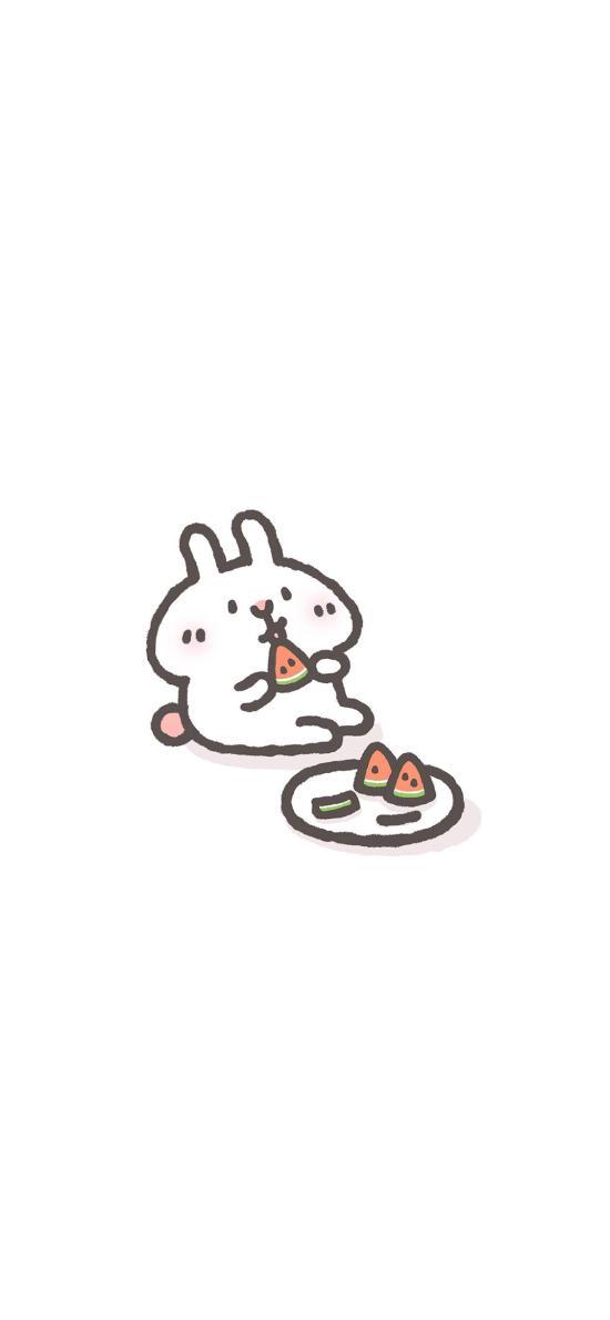 简约 白 兔子 西瓜