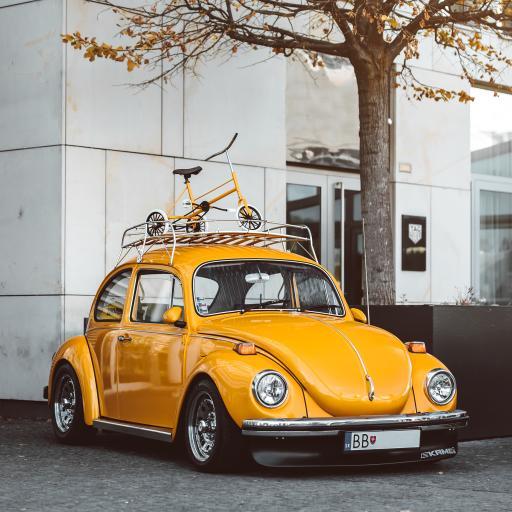 甲壳虫 复古 黄 单车 轿车
