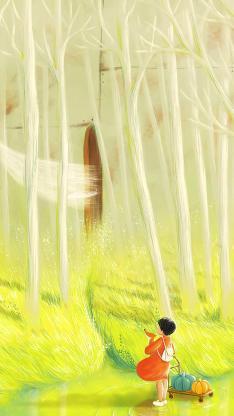 插画 树林 彩绘 清新