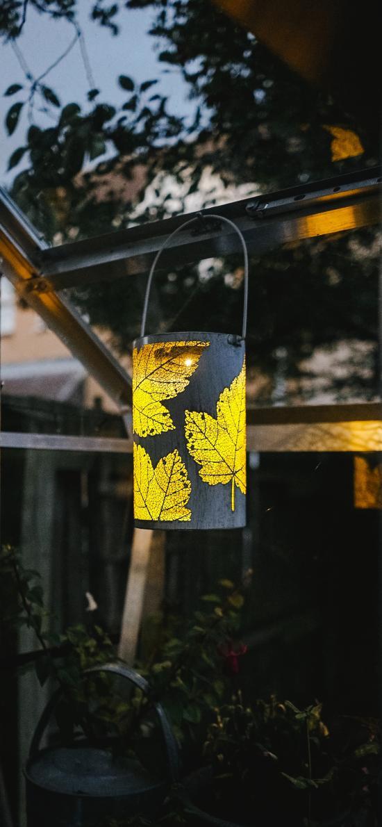 庭院 掛燈 裝飾 楓葉圖案