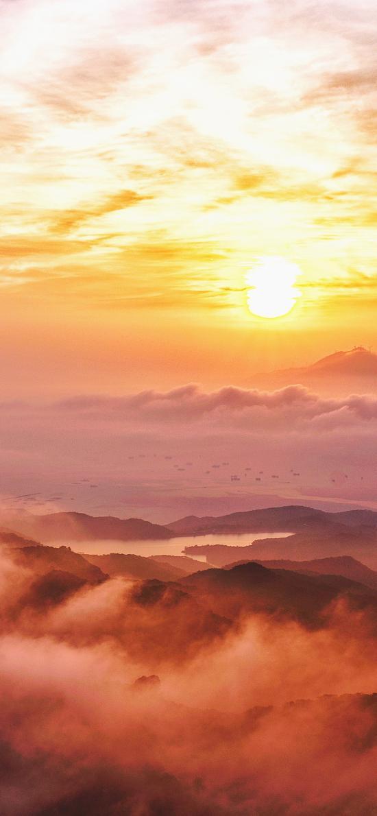 日出 唯美 云海 群山