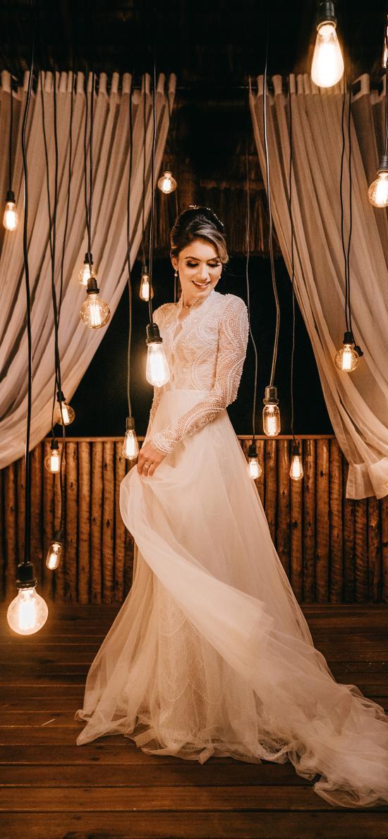 燈光 禮服 婚紗 歐美 裙擺