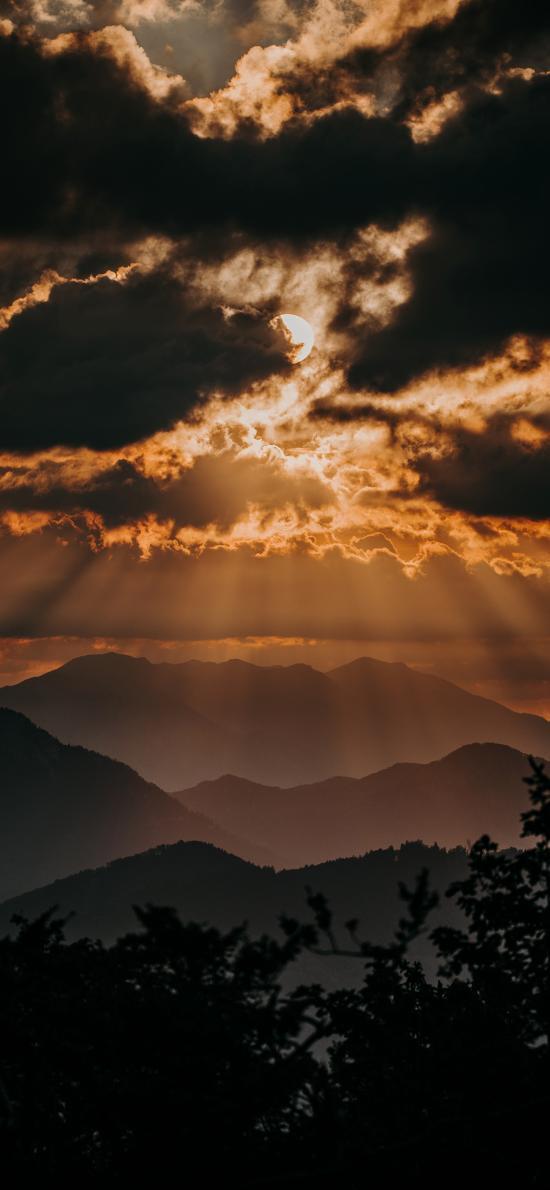 云空 日出 烏云 山峰 自然美景