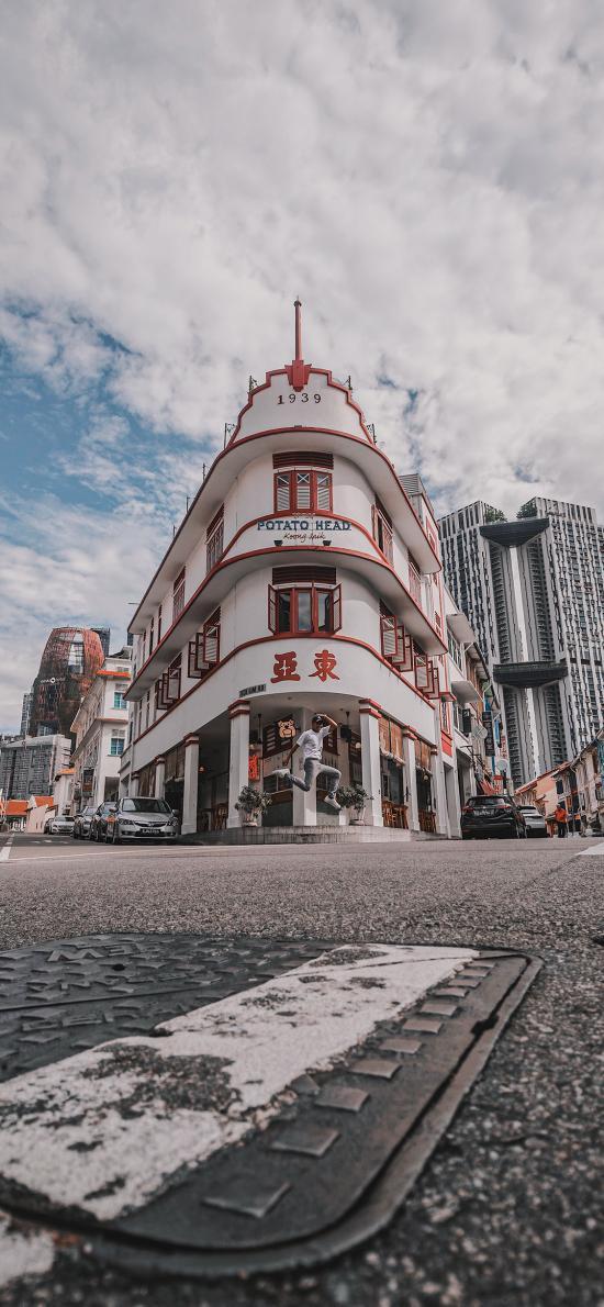 藍天白云 街道 建筑 街景
