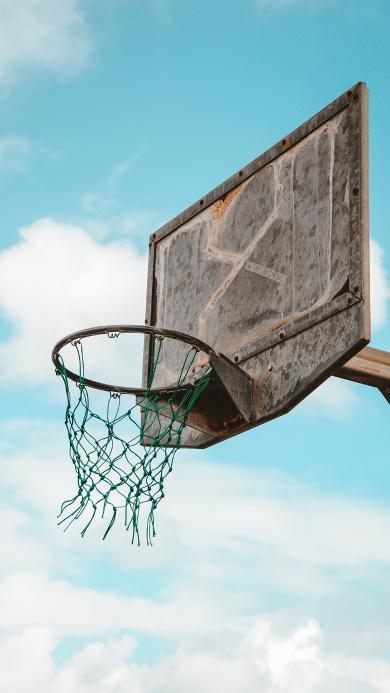球框 籃球 藍天 球場