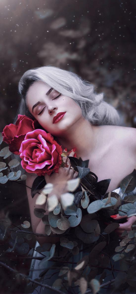 欧美美女 花丛 鲜花 写真 性感