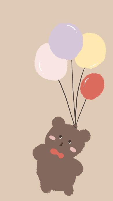 可愛 氣球 小熊 卡通
