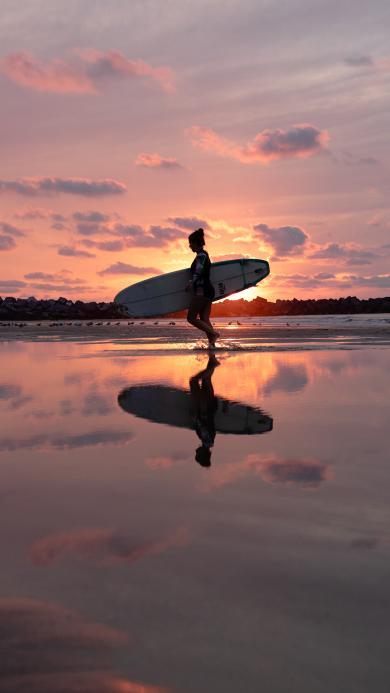 沖浪 夕陽 漸變 天空 倒映