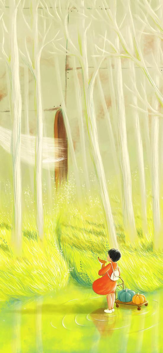 插畫 樹林 彩繪 清新