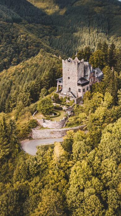 城堡 建筑 樹林 野外 山頂
