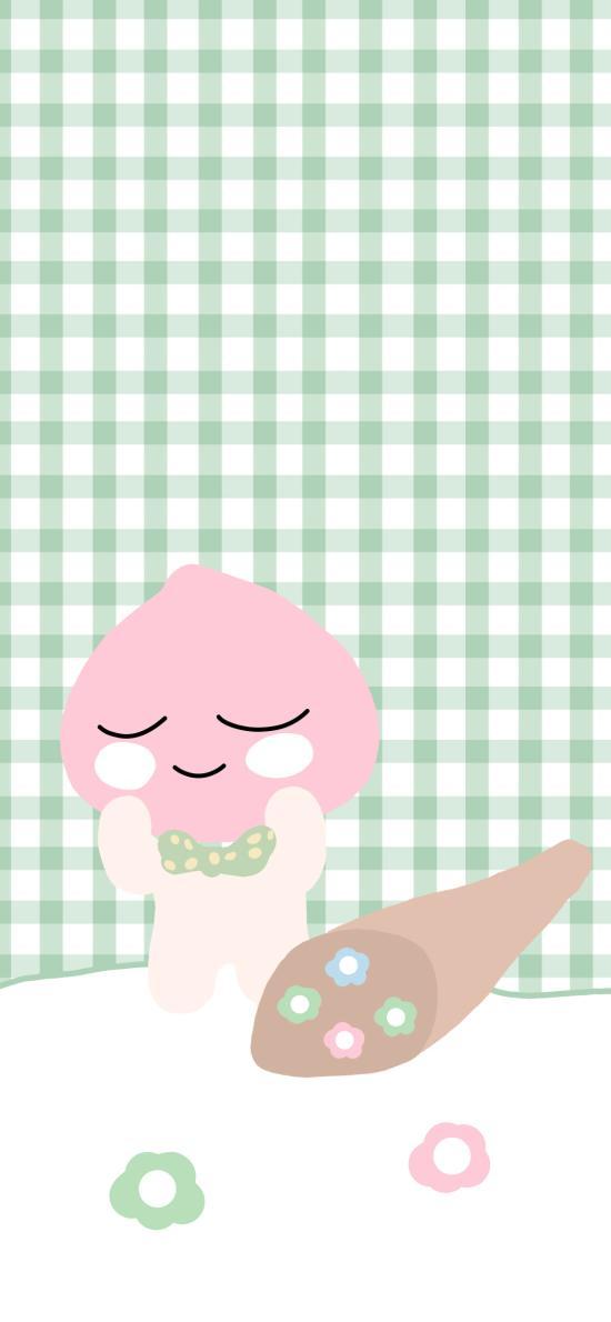 綠色 格子背景 卡通 桃子