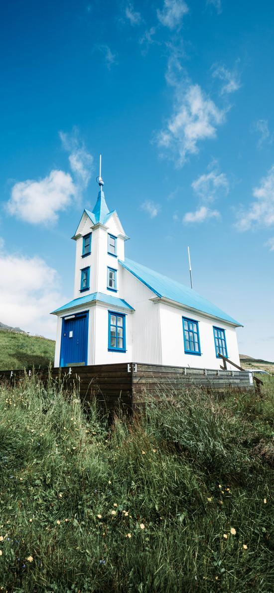房屋 唯美 蓝天 草地