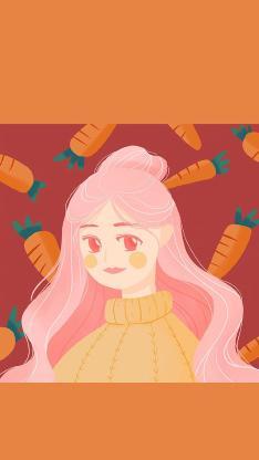 卡通 女孩 胡萝卜 橙色