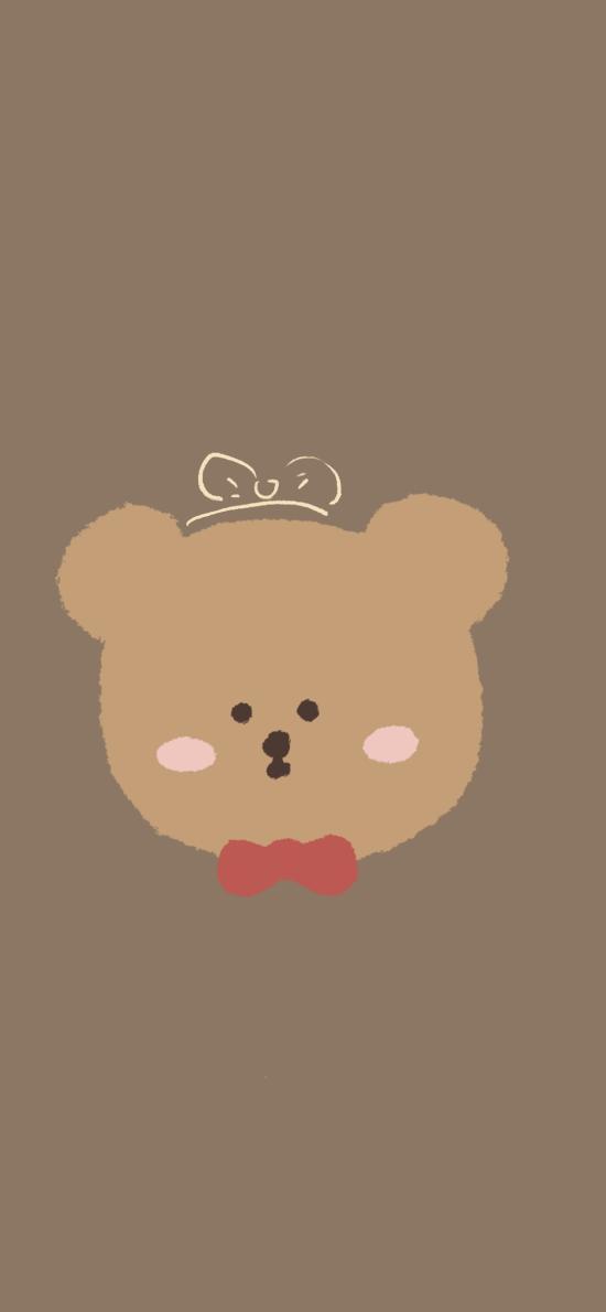 卡通 小熊 領結 可愛