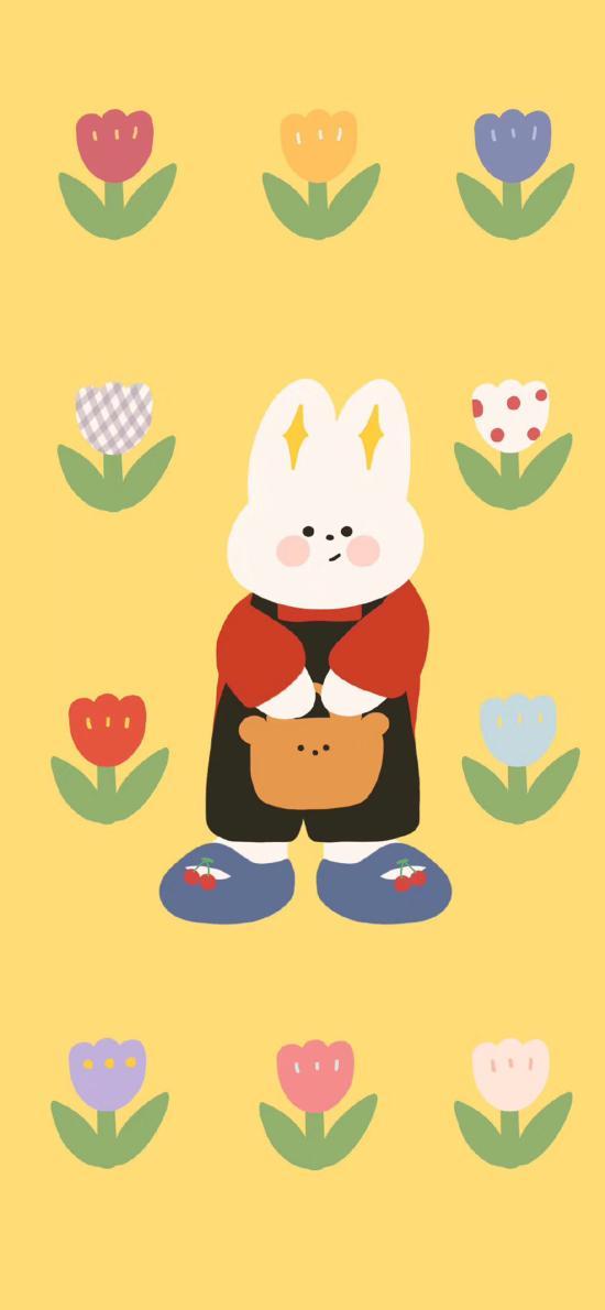 插圖 兔子 花朵 平鋪(取自微博:請你吃番茄呀)