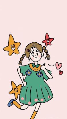 可爱 女孩 绘画 插画