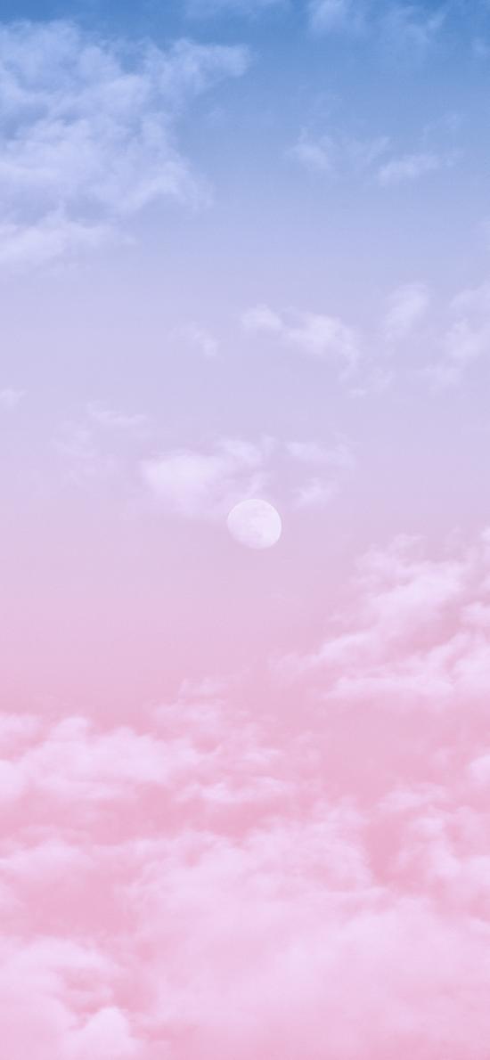 唯美 漸變 粉 月亮