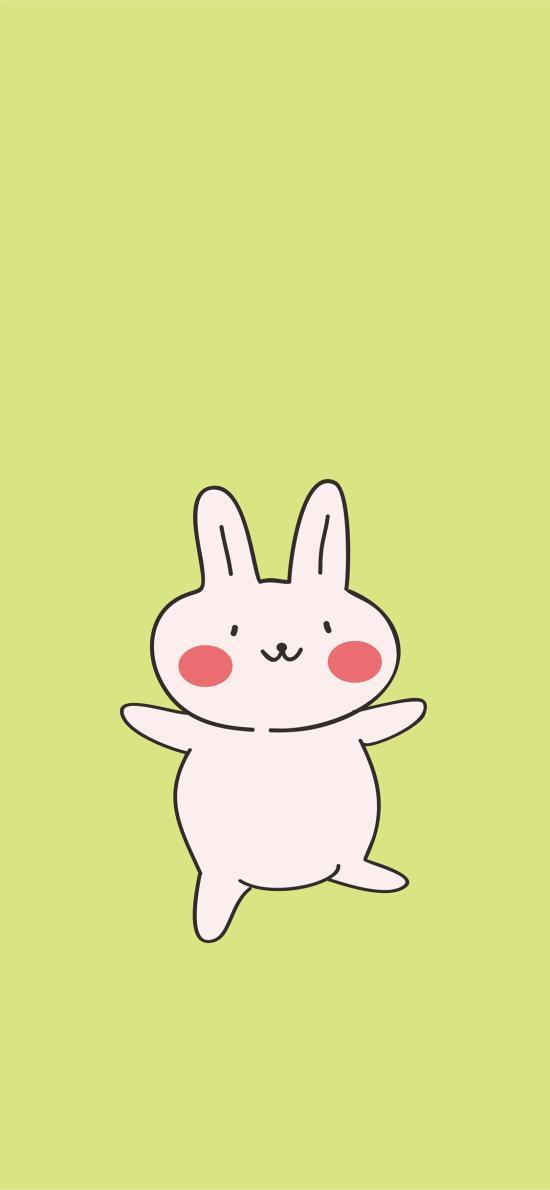 綠色 純色背景 卡通 小兔子 可愛