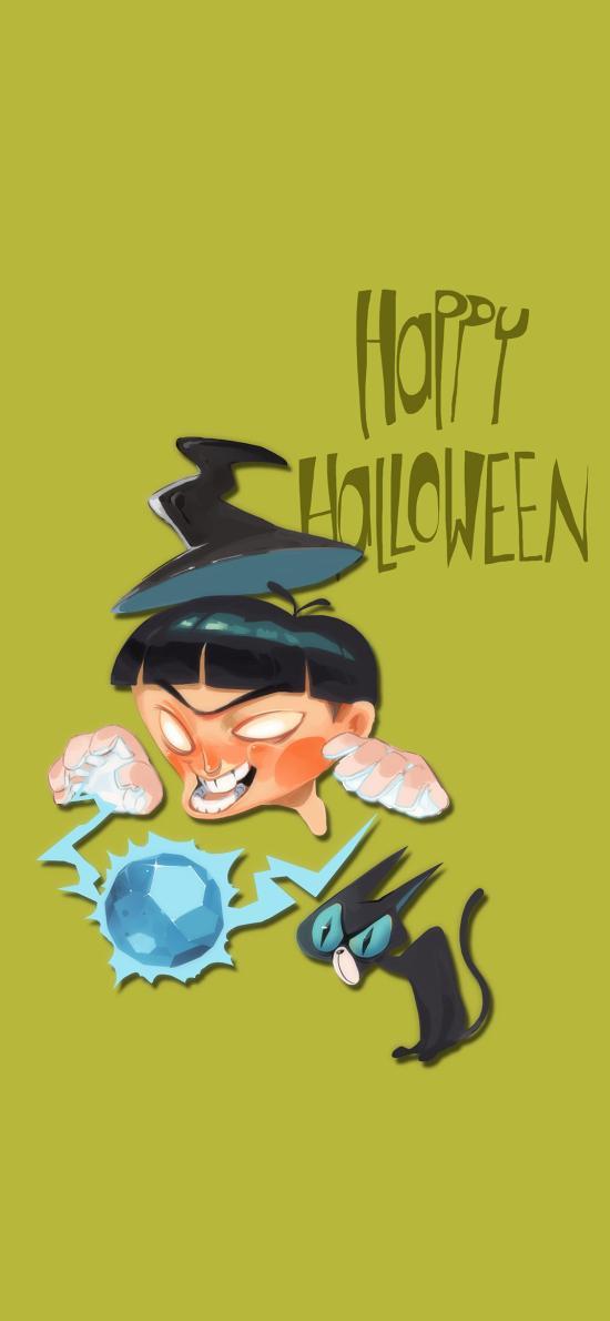 萬圣節 Happy Halloween 插畫 黑貓(取自站酷網:阿迷子Yang)