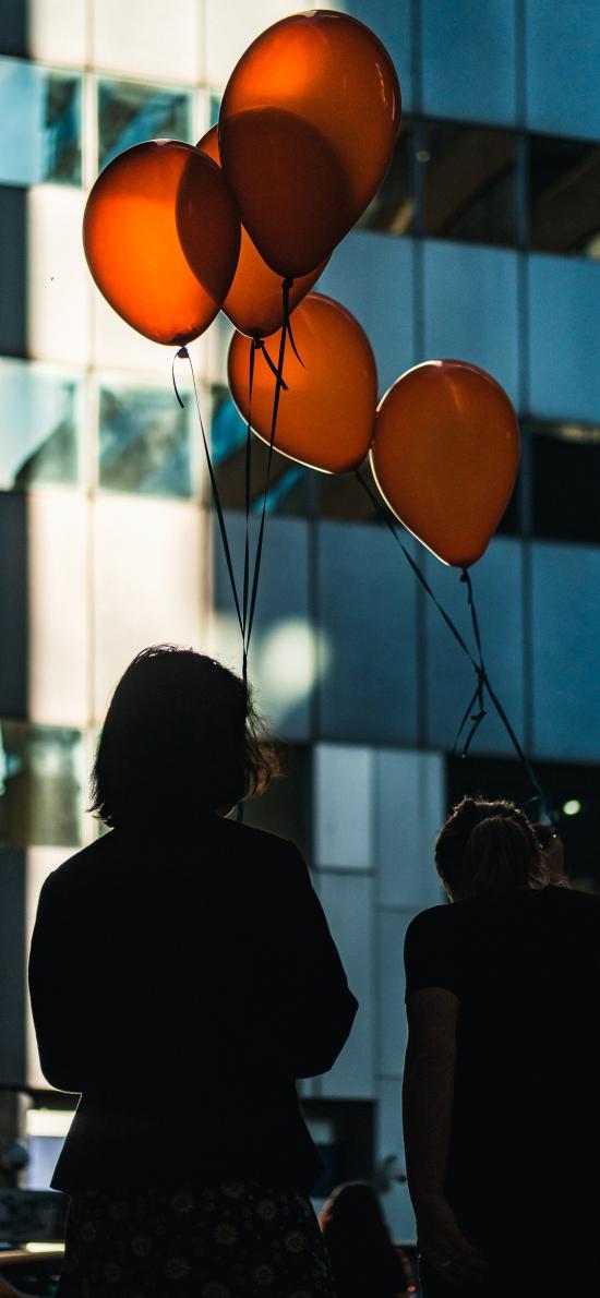 人物 背影 气球 黄色