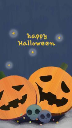 万圣节 Happy Halloween 南瓜 骷颅头(取自站酷网:得得的一碗饭)