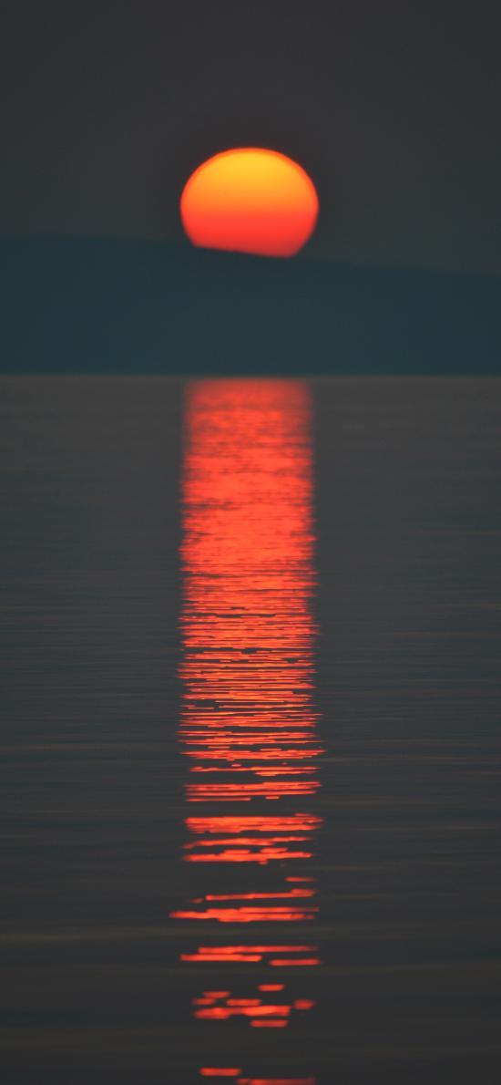 山峰 湖泊 日落 美景