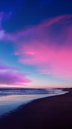 天空 唯美 云彩 彩霞 海岸