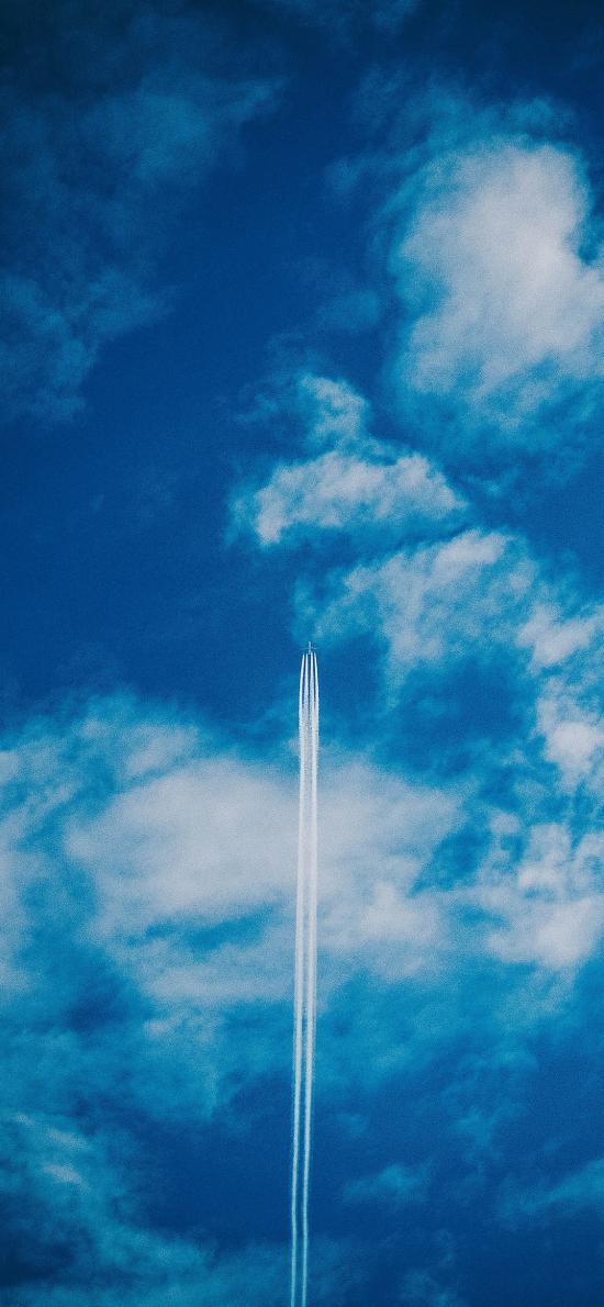天空 干冰 尾氣 蔚藍 飛機