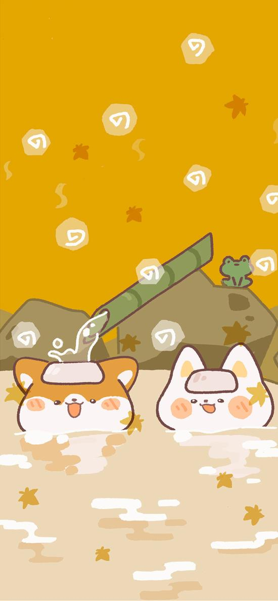可愛 柴犬 溫泉 插畫