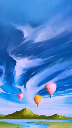 唯美 热气球 天空 插画