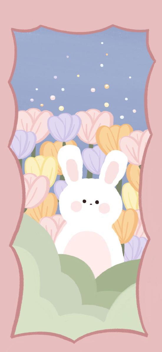 卡通 小兔子 手绘 花朵 可爱