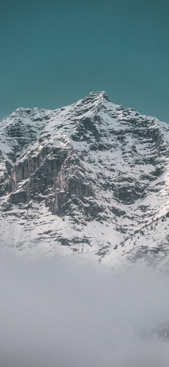 雪山 雪頂 云朵 高山