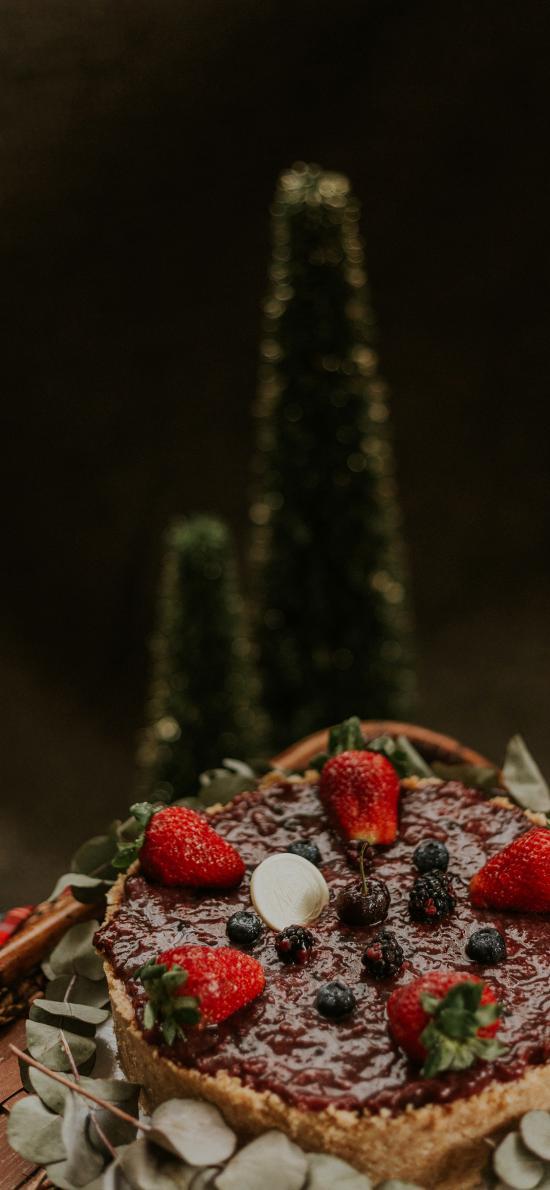 糕點 草莓 藍莓 水果 蛋糕