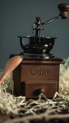 咖啡机 手工 手摇 木勺