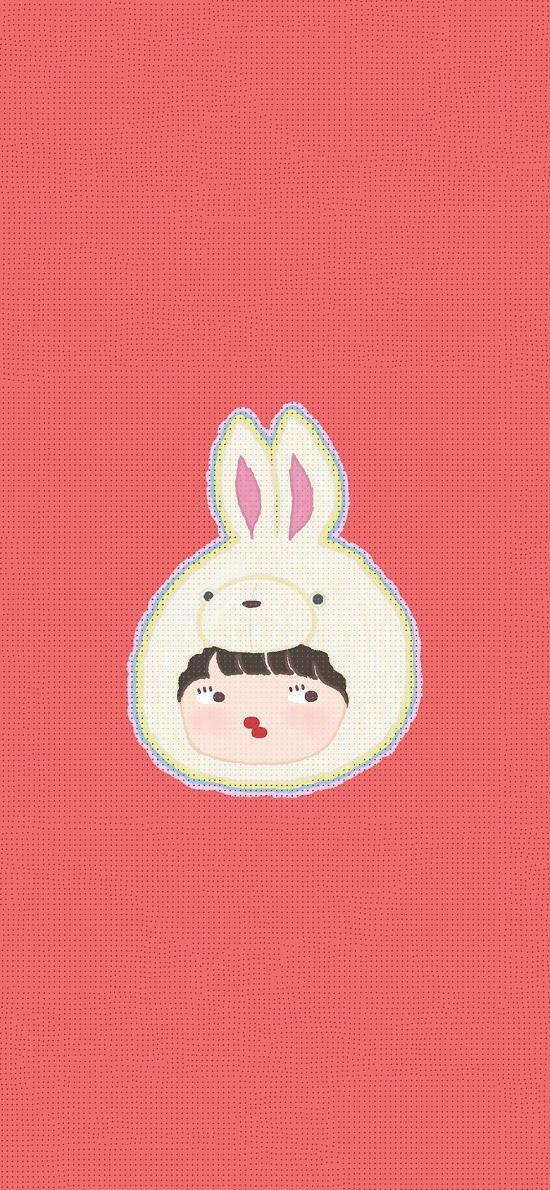插画 兔子 可爱  女孩
