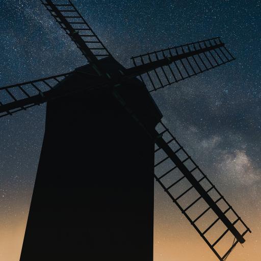 夜景 建筑 风车 星空 唯美