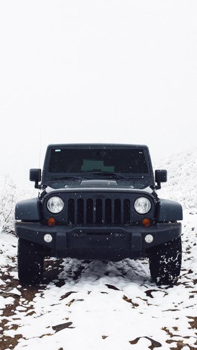 郊外 雪地 汽车 吉普车 黑色