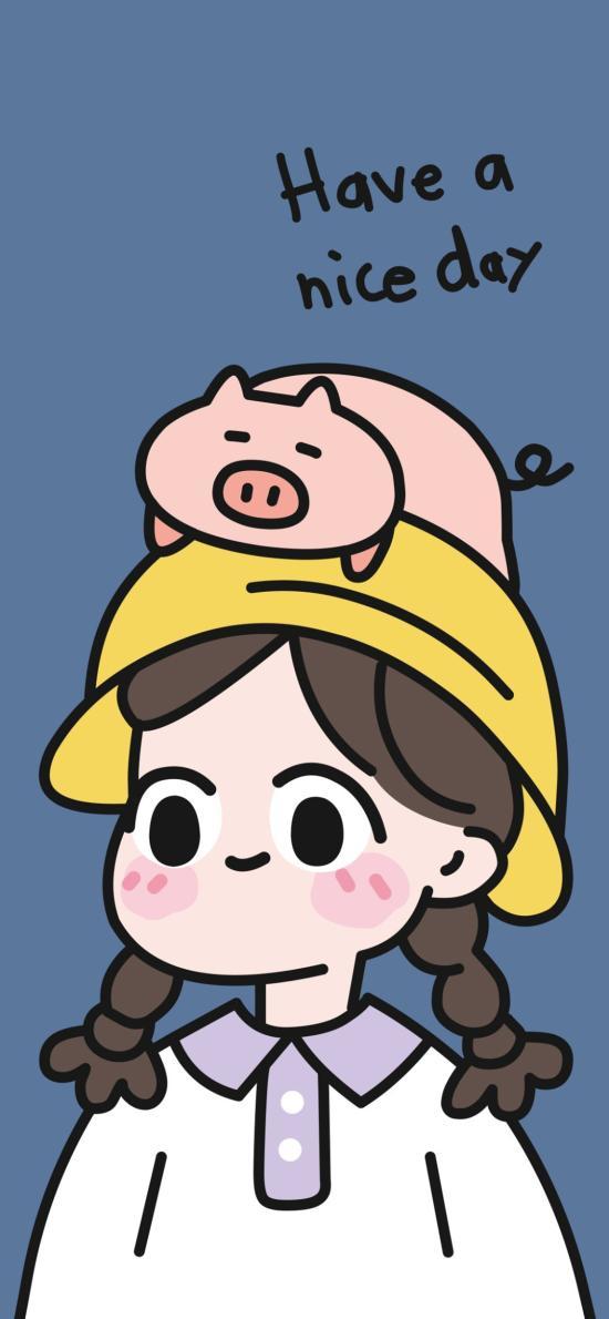 卡通 情侣 小黄帽 猪 女孩