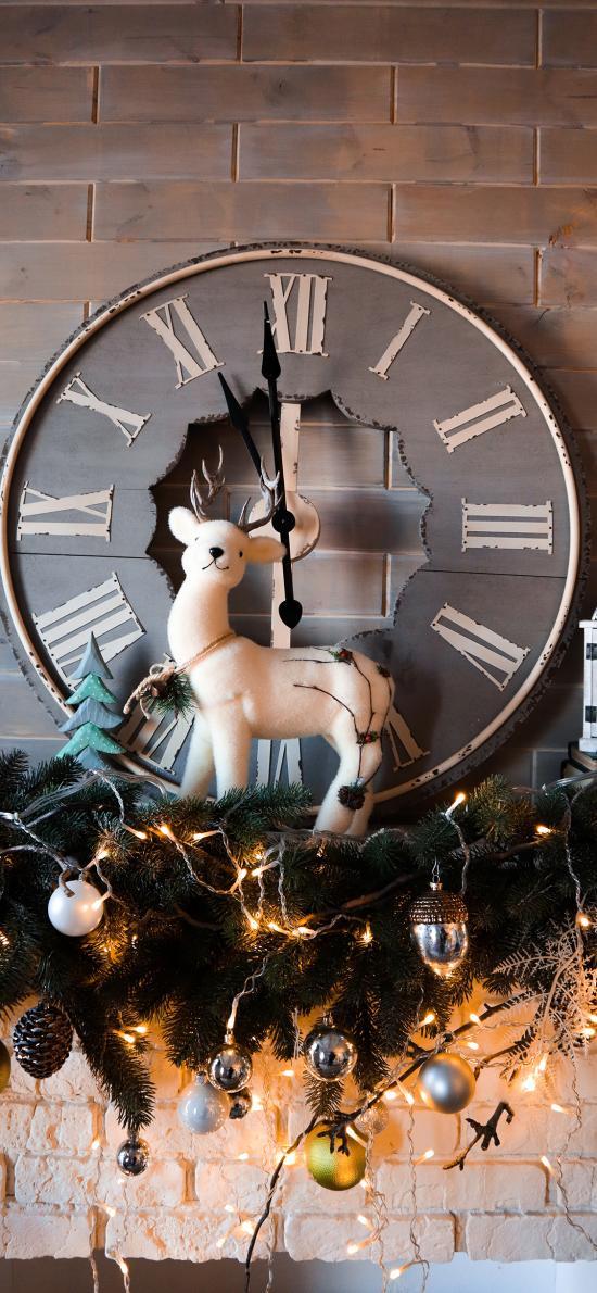 圣誕 裝飾 麋鹿 鐘表