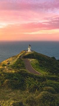 景色 海岸 灯塔 夕阳 绿植