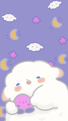 插画 小羊羊 可爱 紫色背景(取自微博:只是一只小羊羊)