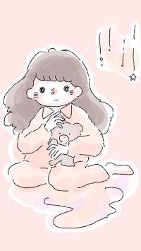 女孩 插画 小熊 粉色