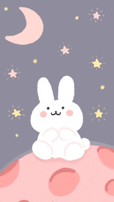 插画 月球 兔子 星星 月亮